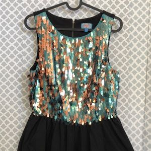 Plenty by Tracy Reese teal rose gold sequin dress